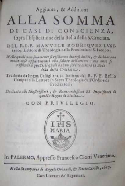 [1617] Aggiunte, & Additioni alla Somma di Casi di Coscienza