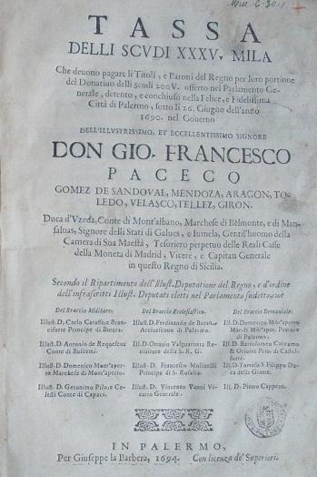 [1694] Tassa delli scudi XXXV. mila che deuono pagare li titoli, e baroni del Regno