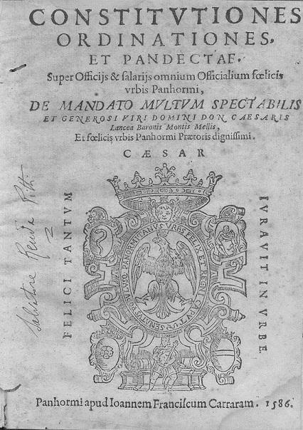[1586] Constitutiones, Ordinationes et pandectae urbis Panhormi