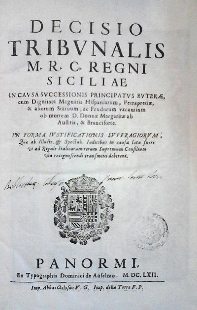 [1662] Decisio tribunalis M. R. C. Regni Siciliae