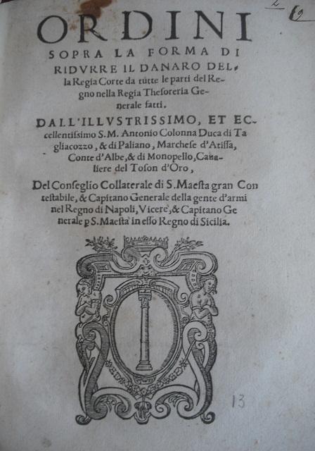 [1579] Ordini fatti sopra l'officio del maestro dei corrieri del Regno di Sicilia