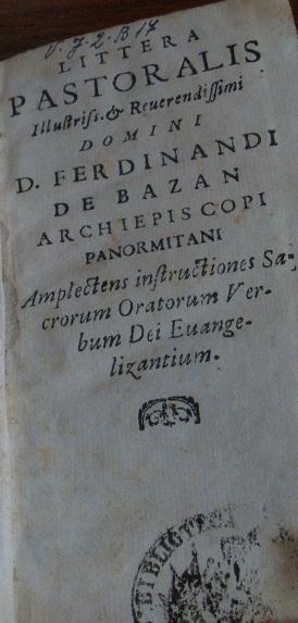 [1692] Littera pastoralis d. Ferdinandi de Bazan