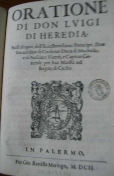 [1602] Oratione di don Luigi di Heredia
