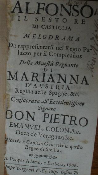 [1696] Alfonso il sesto re di Castiglia. Melodrama