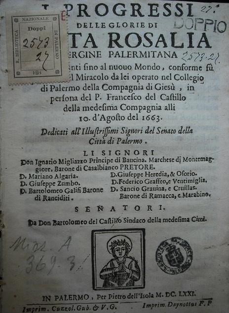 [1671] I progressi delle glorie di Santa Rosalia