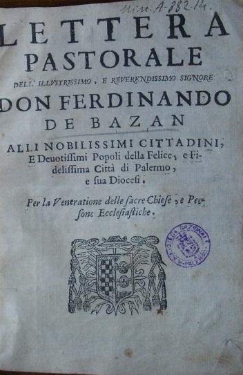 [1688] Lettera pastorale dell'illustrissimo Vincenzo Acqua