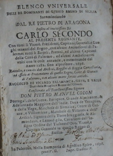 [1696] Elenco universale delli re dominanti di questo Regno di Sicilia
