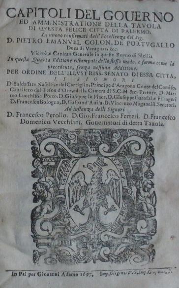[1709] Capitoli del governo ed amministrazione