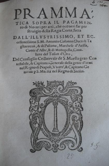 [1581] Prammatica sopra il pagamento di notari